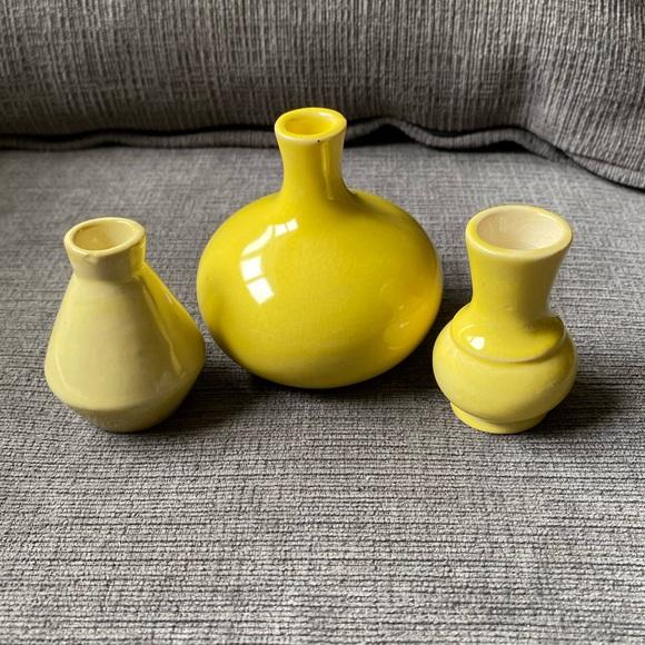 3 vintage ceramic mini yellow vases shelf fillers